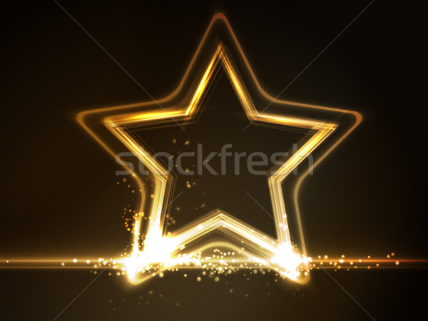 Golden glowing star frame Stock photo © wenani