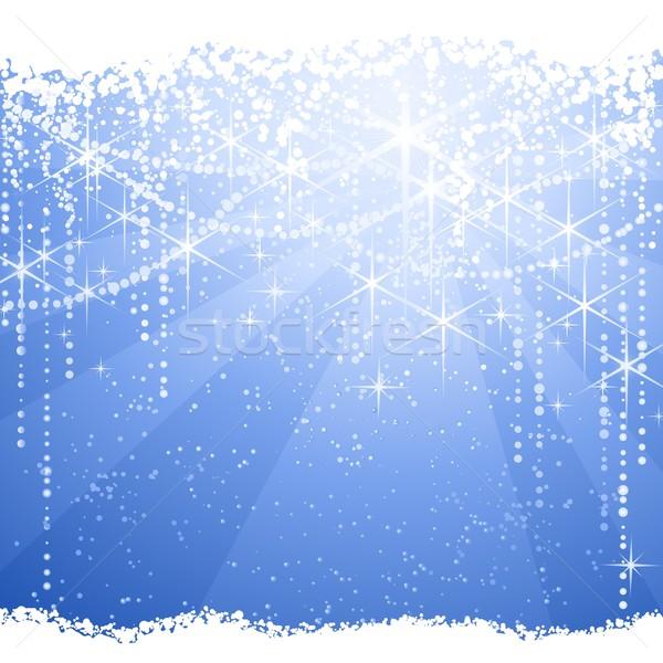 Résumé bleu Noël hiver carré lumière Photo stock © wenani