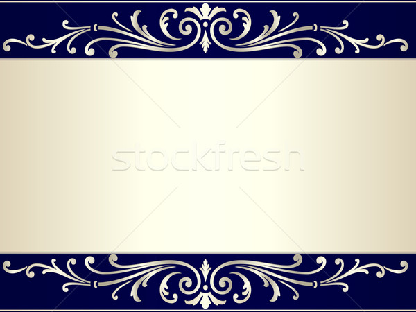 Vintage scroll background in silver beige and blue Stock photo © wenani