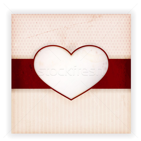 Vintage invitation card with heart label  Stock photo © wenani