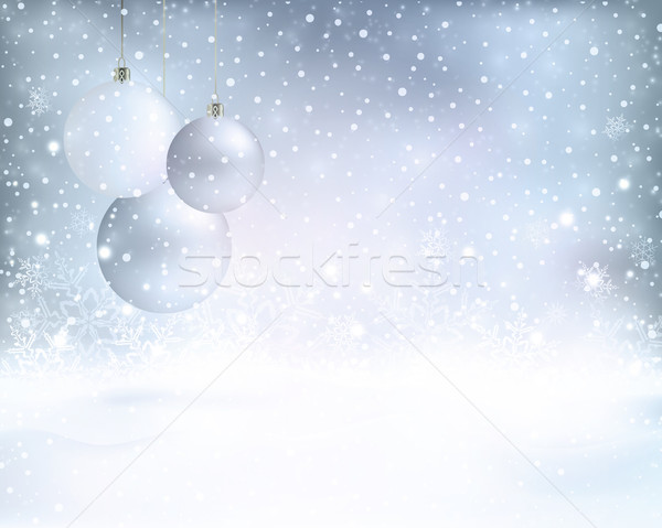 Silver blue Christmas background with baubles and snowfall Stock photo © wenani