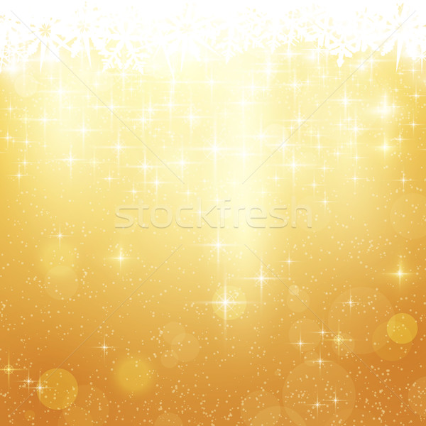 Stock photo: Golden Christmas background with stars and lights