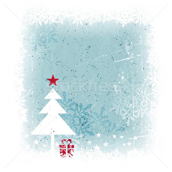 Winter christmas kerstboom ijzig Blauw Stockfoto © wenani
