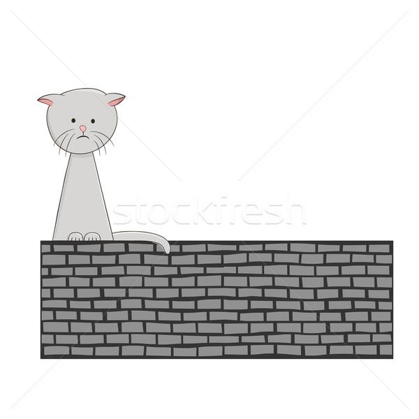 Triste solitaire chaton cute séance seuls Photo stock © wenani