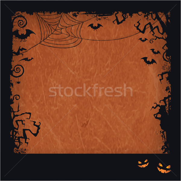 Orange Halloween grunge frame Stock photo © wenani
