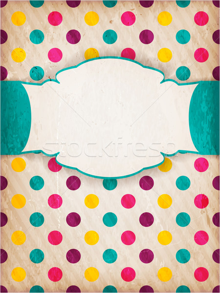 Stock photo: Colorful textured polka dot design with label