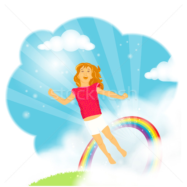 Little girl flying in the clouds Stock photo © wenani