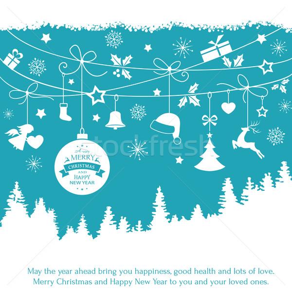 синий карт подвесной Рождества украшения Сток-фото © wenani