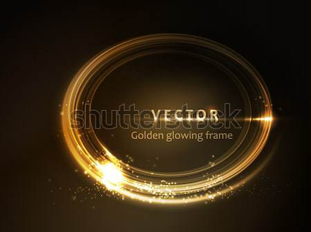 Golden glowing oval frame Stock photo © wenani