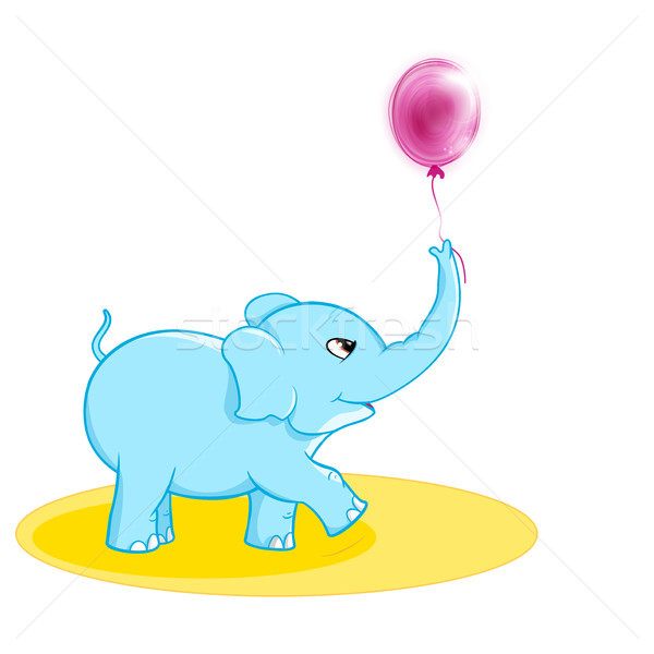 Cute elephant with ballon Stock photo © wenani