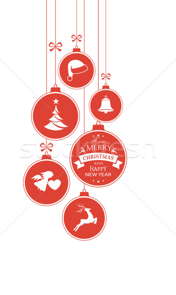 Monochrome red Christmas baubles on white, vertical border Stock photo © wenani
