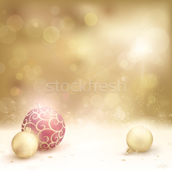 Desaturated golden christmas background with baubles Stock photo © wenani
