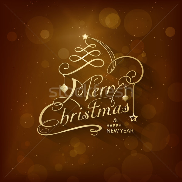 Vrolijk christmas wenskaart gouden gelukkig nieuwjaar Stockfoto © wenani