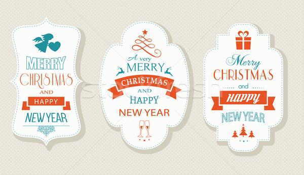 陽気な クリスマス 明けましておめでとうございます ラベル セット 新しい ストックフォト © wenani