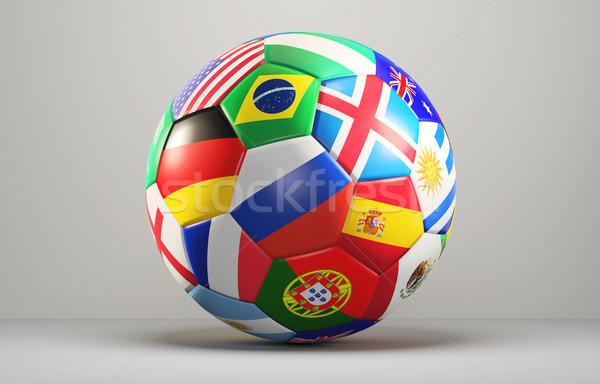 Ballon drapeaux design 3D football Photo stock © Wetzkaz