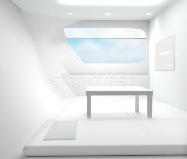 Blanco 3D habitación moderna vidrio Foto stock © Wetzkaz