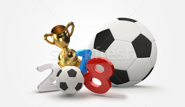 2018 soccer football 3D illustration Stock photo © Wetzkaz