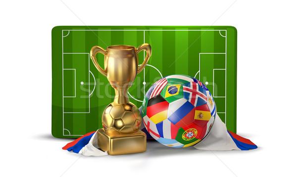 Balón de fútbol dorado trofeo campo de fútbol 3d aislado Foto stock © Wetzkaz