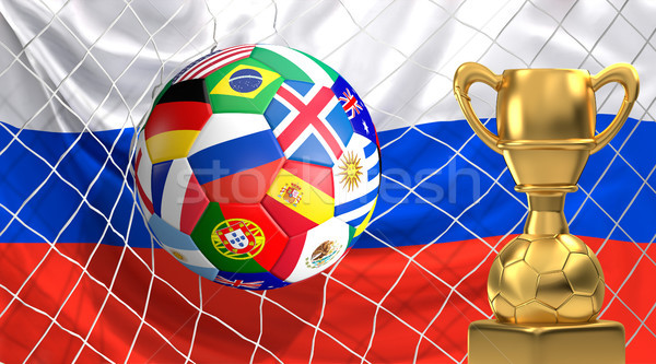 soccer flags ball with golden trophy in soccer net. Goal 3D illu Stock photo © Wetzkaz