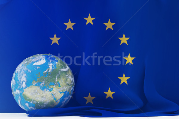 Bandera Europa planeta tierra mundo mundo centrado Foto stock © Wetzkaz