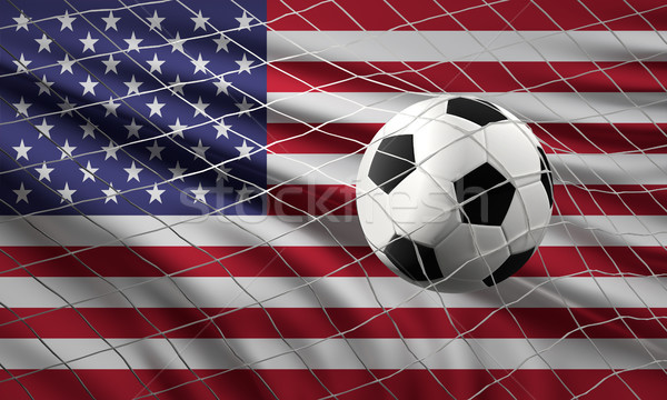 soccer football ball and flag of the United States of America wi Stock photo © Wetzkaz