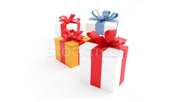 Cajas de regalo rojo Navidad cajas Foto stock © Wetzkaz