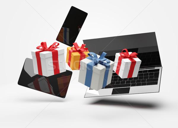 Cuaderno escritorio regalos Internet Foto stock © Wetzkaz