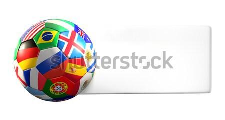 Fútbol fútbol 3d azul bandera rojo Foto stock © Wetzkaz