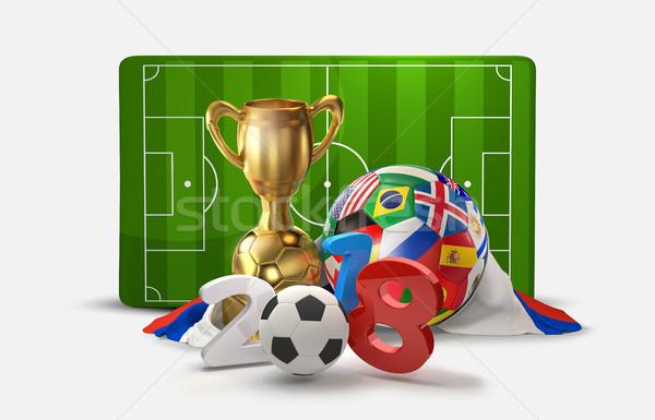 Russia soccer football 3D illustration russian symbol design Stock photo © Wetzkaz
