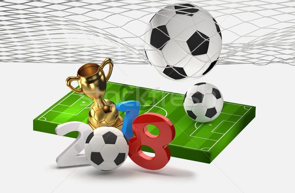 Fútbol fútbol 3d verde azul pelota Foto stock © Wetzkaz