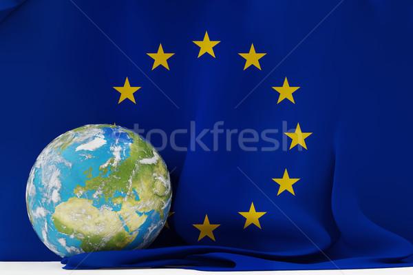 Stock fotó: Zászló · Európa · Föld · világ · földgömb · fókuszált