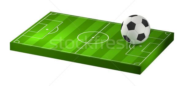 Stock fotó: Futballabda · futballpálya · 3d · illusztráció · izolált · futball · mező