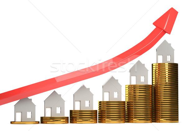Stock fotó: Emelkedő · ház · árak · 3d · illusztráció · üzlet · pénz