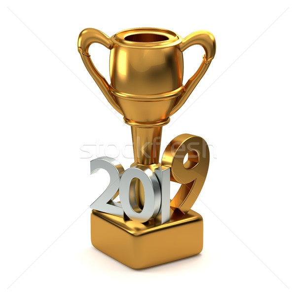 2019 golden trophy best of. 3d rendering Stock photo © Wetzkaz