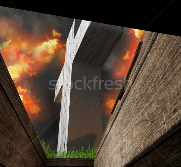 view from buried coffin in a grave on a graveyard in hell 3d-ill Stock photo © Wetzkaz