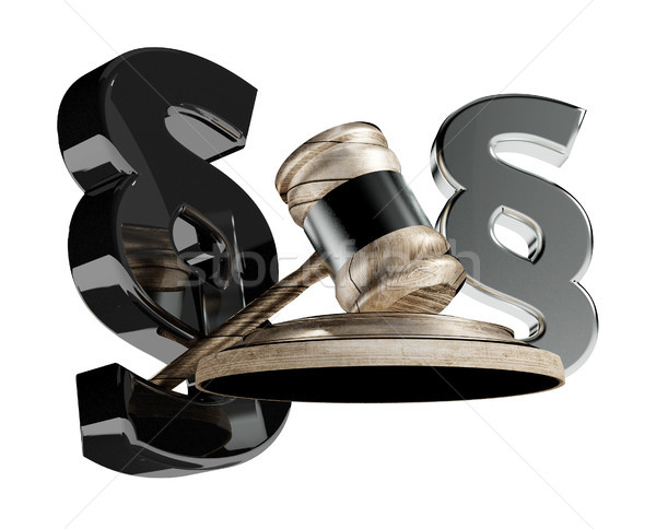 paragraph law and wooden judge gavel 3d-illustration Stock photo © Wetzkaz