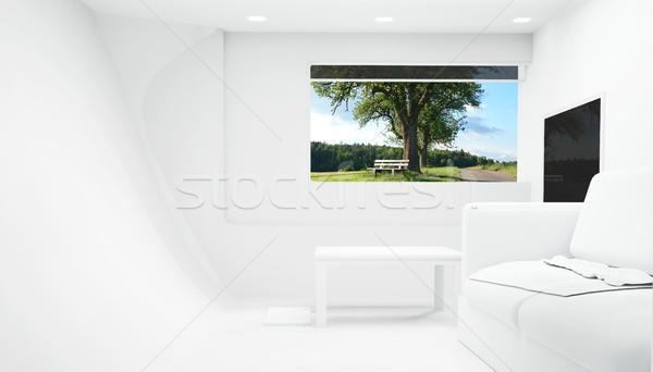 Blanco 3D habitación vidrio fondo Foto stock © Wetzkaz