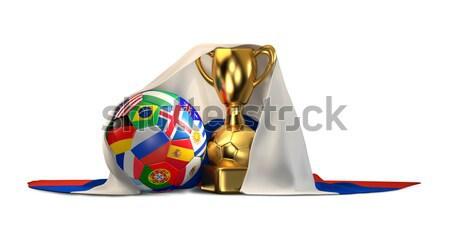 Foto stock: Futebol · futebol · ilustração · 3d · bola · vermelho · branco