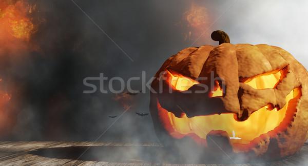 Calabaza de halloween fuego llamas humo Foto stock © Wetzkaz