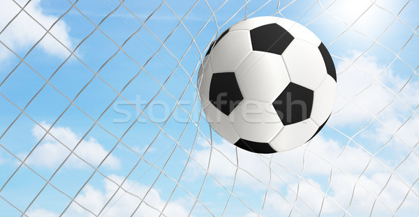 Balón de fútbol neto 3D objetivo Foto stock © Wetzkaz