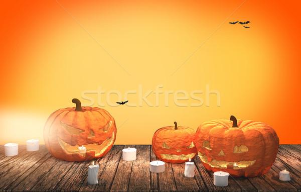 Halloween calabazas 3D fondo naranja Foto stock © Wetzkaz