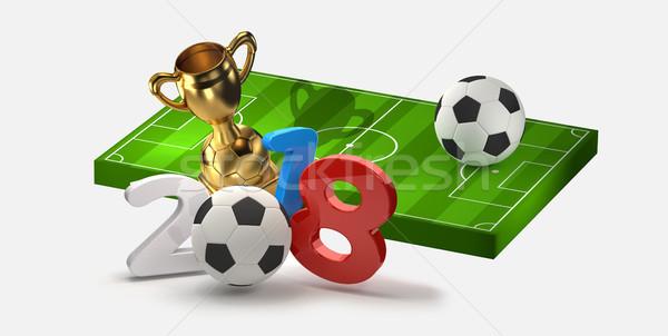 Stock fotó: Futball · futball · 3d · illusztráció · háttér · zöld · kék