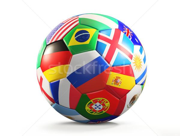 Balón de fútbol banderas diseno 3D aislado Foto stock © Wetzkaz