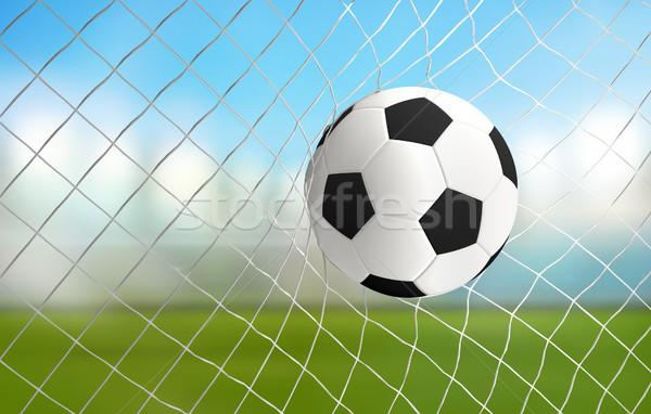 soccer ball in net 3d rendering goal Stock photo © Wetzkaz