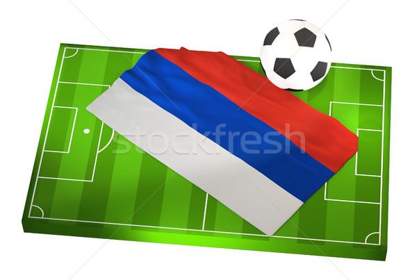 Foto stock: Campo · de · futebol · bandeira · Rússia · anúncio · futebol · ilustração · 3d