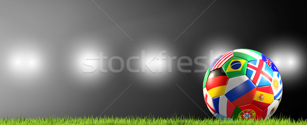 soccer ball flags Russia 3d rendering Stock photo © Wetzkaz