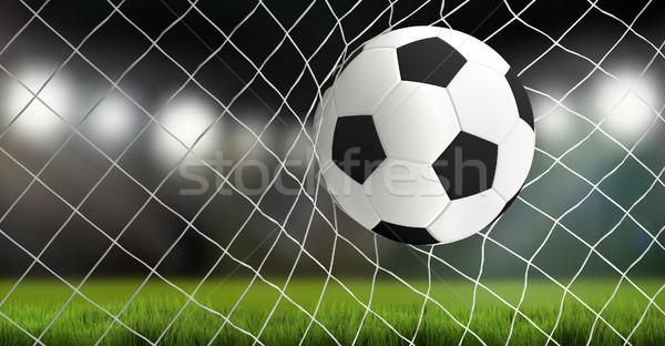 Balón de fútbol neto 3D objetivo fútbol Foto stock © Wetzkaz