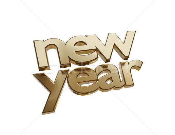new year symbol golden bold letters 3d-illustration Stock photo © Wetzkaz