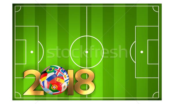 Verde fútbol campo de fútbol 3d fútbol pelota Foto stock © Wetzkaz