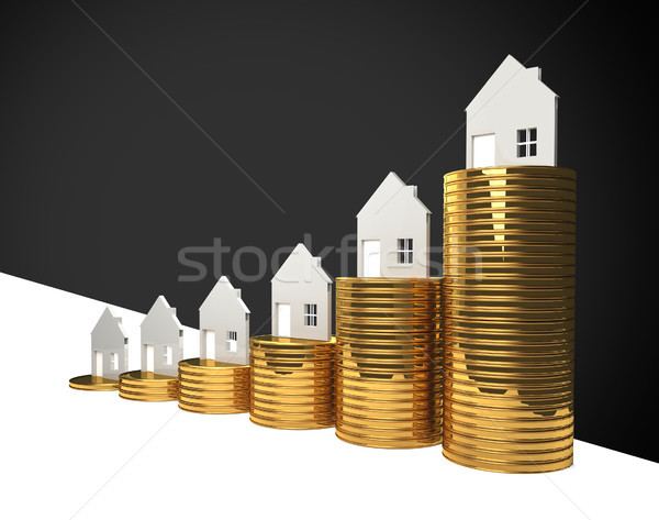 Stock photo: rising house prices 3D illustration
